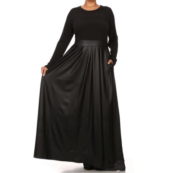 Plus Size Black Faux Leather Maxi Dress